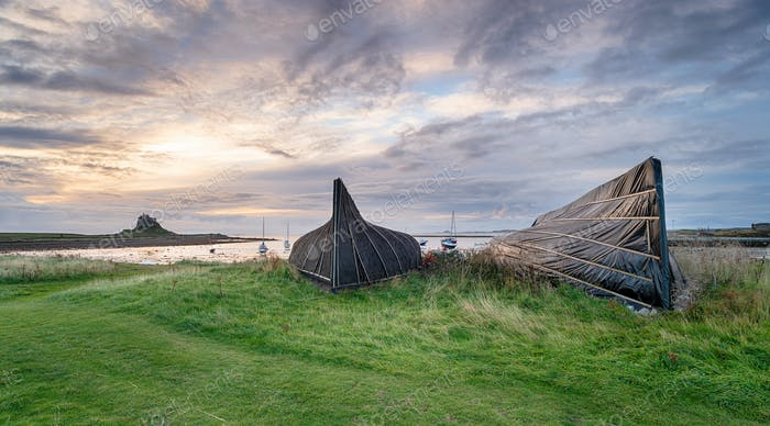 Boathouses at Lindisfarne