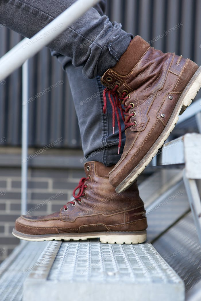 Close up male leather boots