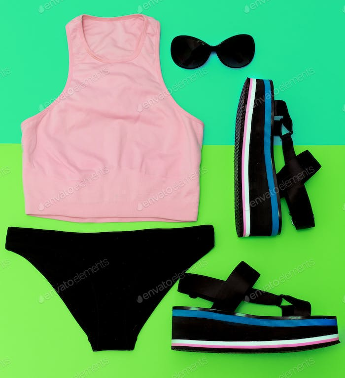 Stylish beach sportswear. Sandals platform. Summer outfit trends