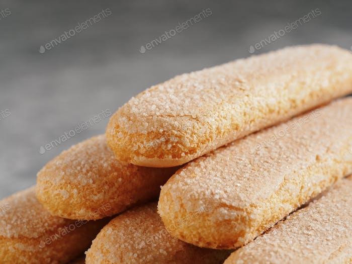 ladyfinger savoiardi biscuit cookies close up