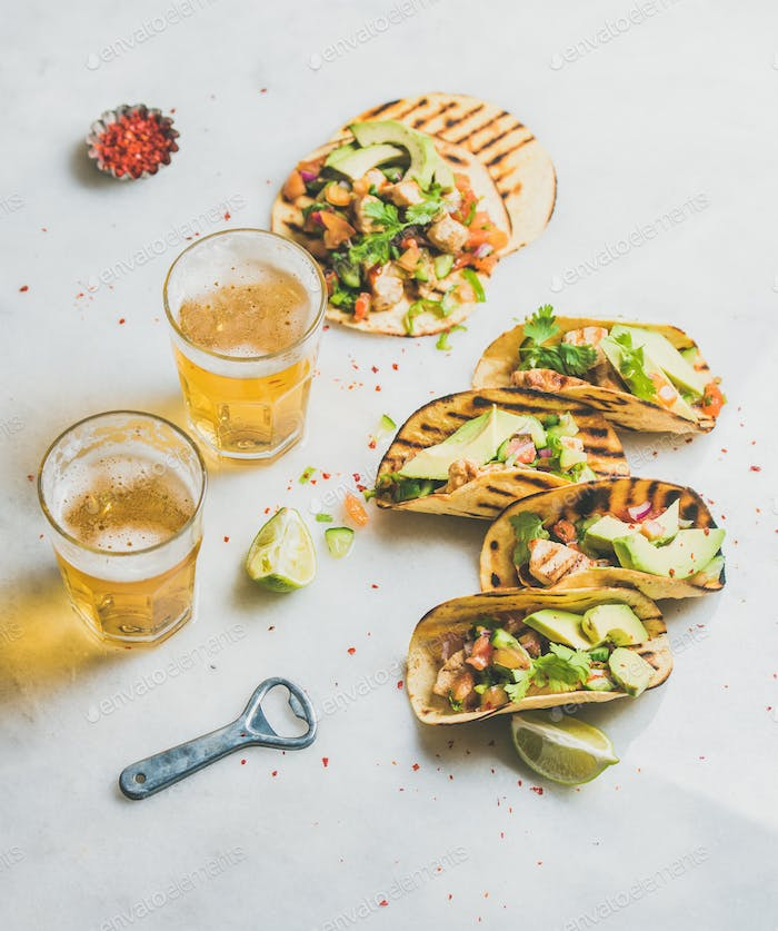 Gluten-free healthy corn tortillas with beer in glasses