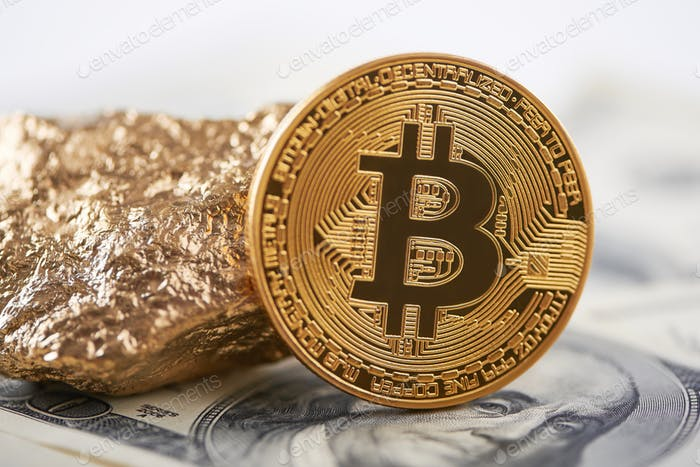 Shiny golden bitcoin and gold lump put on dollar banknote and represent new financial trends