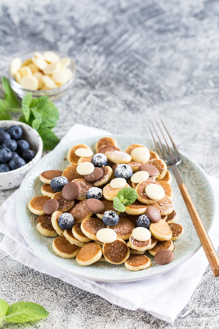 Tiny pancakes for breakfast. Cereal pancakes