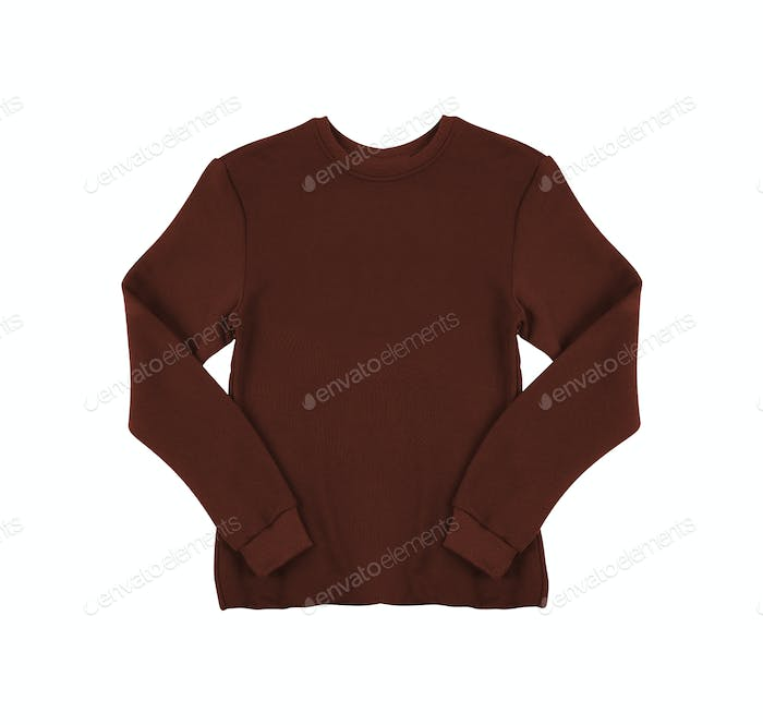 Red knitted sweater. Isolate on white.