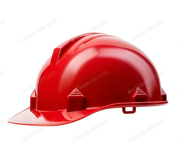 Thumbnail for Red safety helmet close-up isolated on a white background.