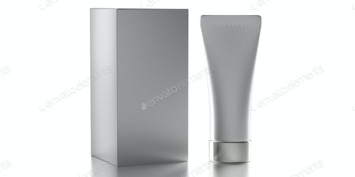 Blank cream tube isolated on white background, cosmetic product package template. 3d illustration
