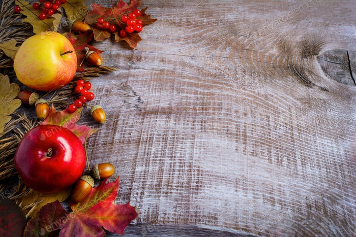 Border of apples, red berries and fall leaves on the rustic wood
