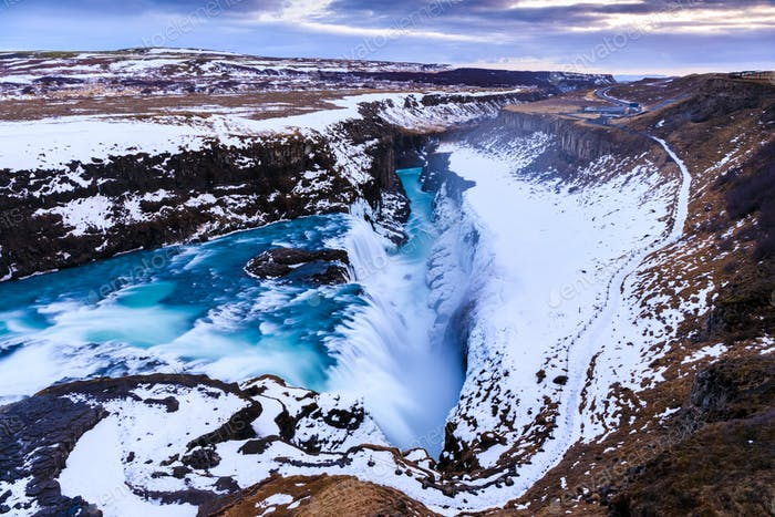 Gullfoss waterfall in Winter, Iceland