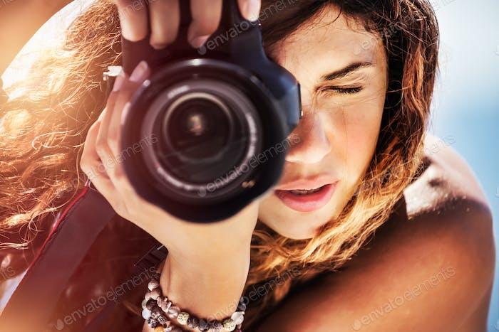 Schöne Fotograf Mädchen