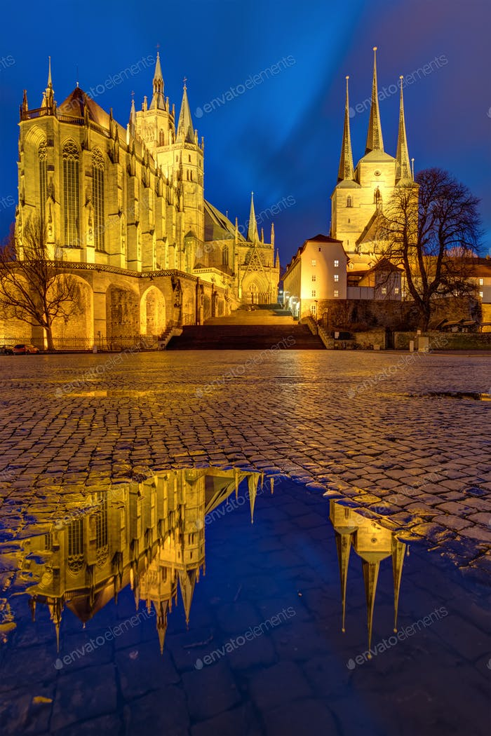 The famous Cathedral and Severi church in Erfurt at dusk