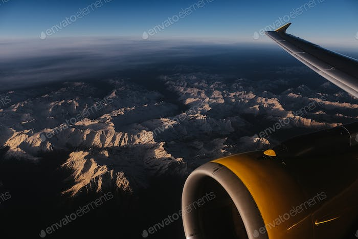 italian alps from above