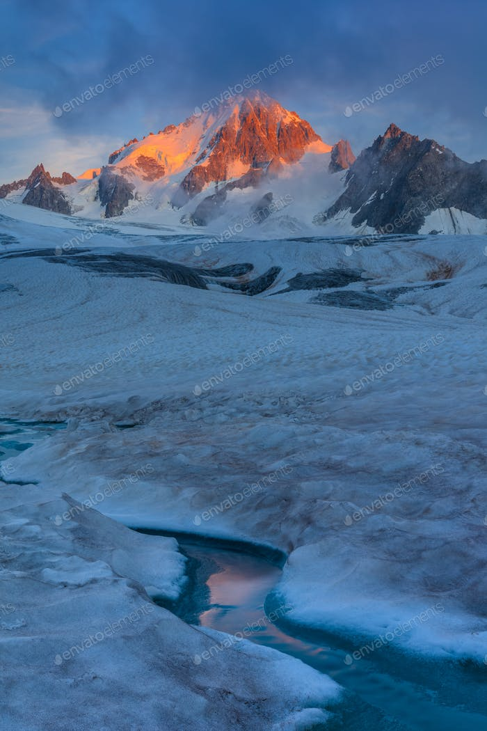 glacier du Tour in sunrise. French Alps