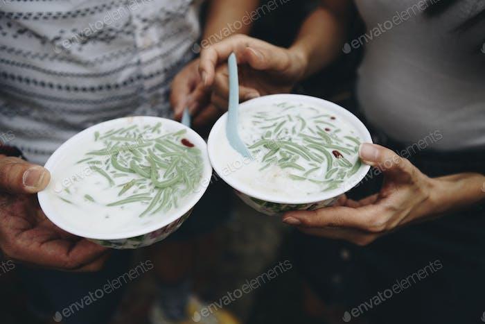 Bowls of fresh cendol dessert