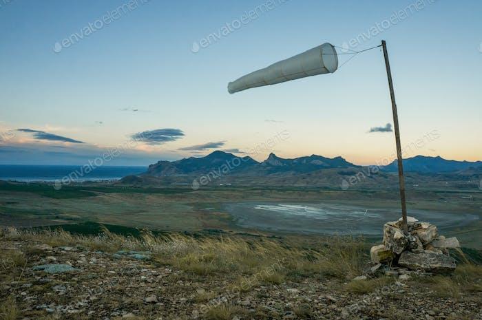 meteorology wild sign at lake in mountains