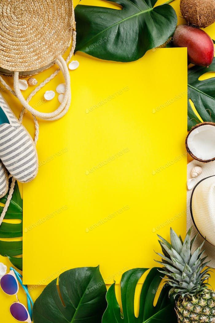 Straw hat, camera, bag, summer shoes, sunglasses, shells, tropical leaves and fruits