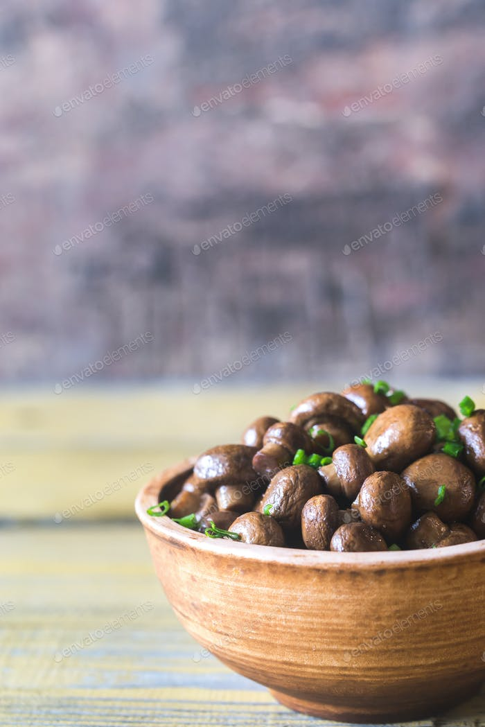 Bowl of soy balsamic roasted mushrooms