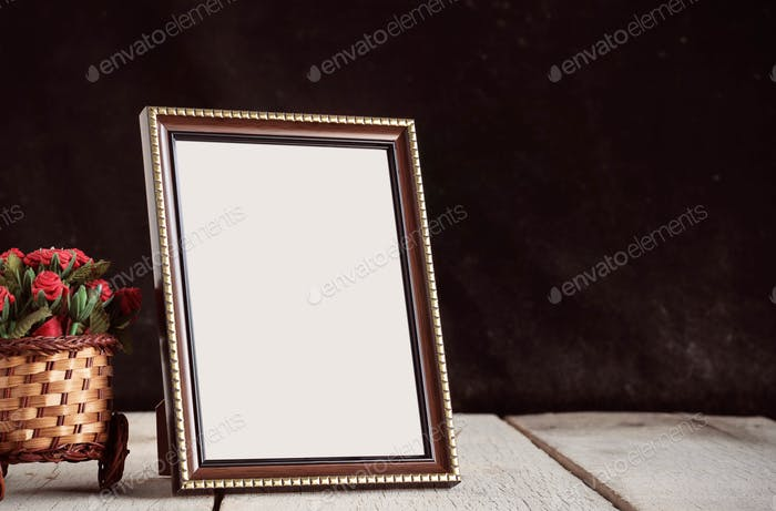 Picture frames on wooden