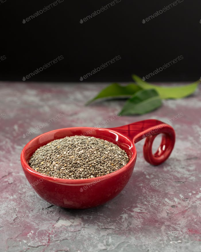 Chia Seeds in a Red Bowl