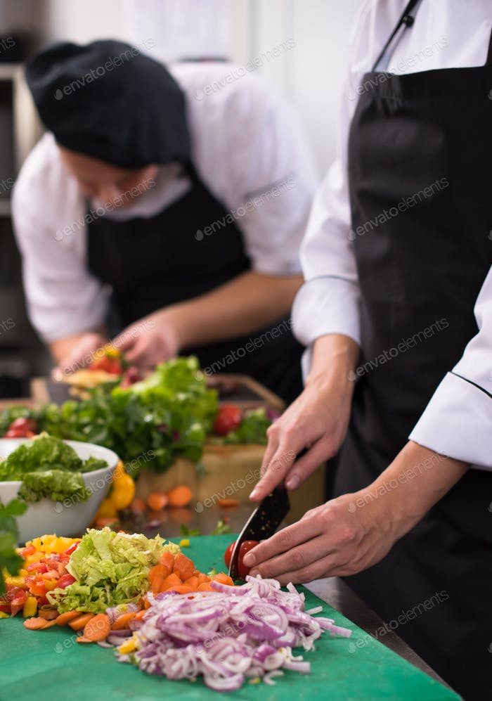 team cooks and chefs preparing meals