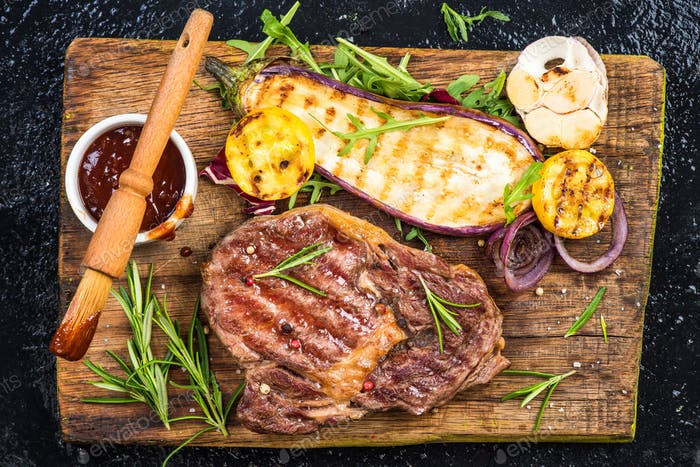 Perfect barbecue,grilled meat with vegetables and glaze