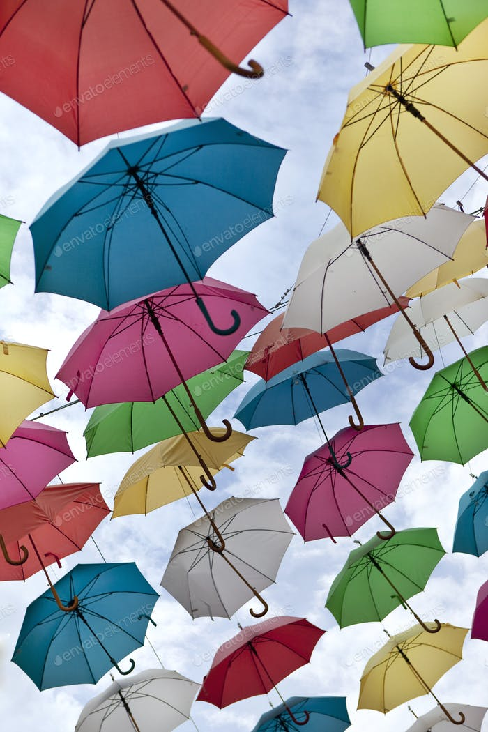 Umbrellas in the sky
