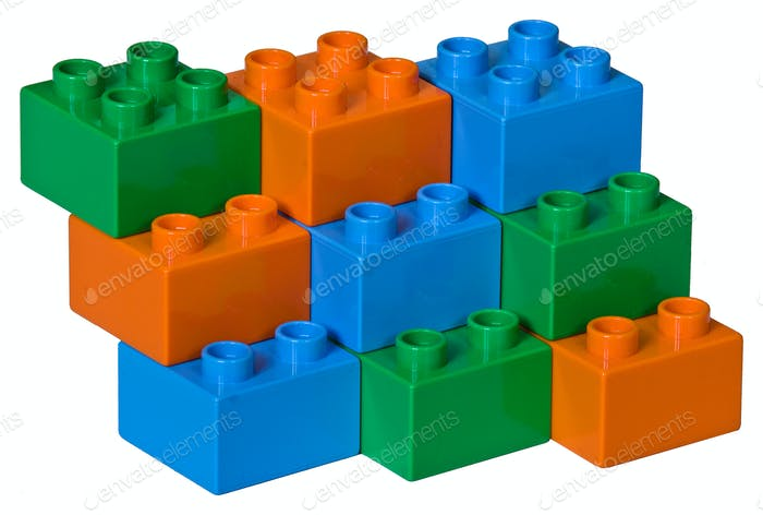 Blue, green and orange plastic toy bricks