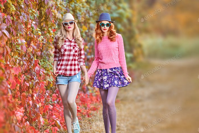 Fall Fashion. Girl Stylish Autumn Outfit. Outdoor