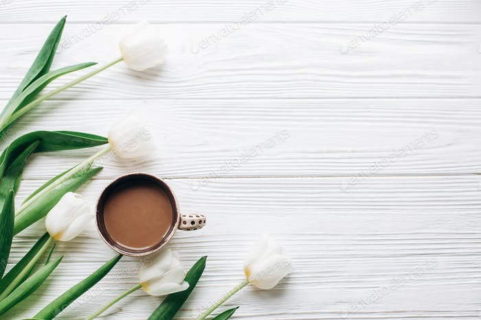 tulips and coffee on white wooden rustic background