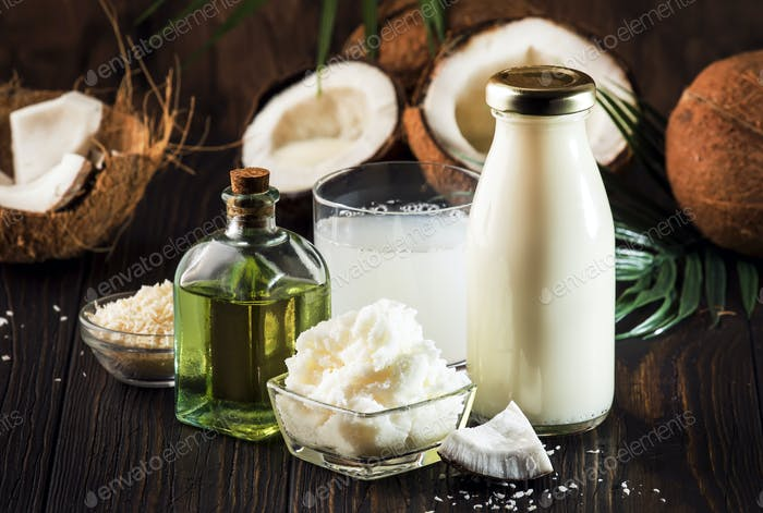 Coconuts products - mct butter, oil, milk, oil, shavings