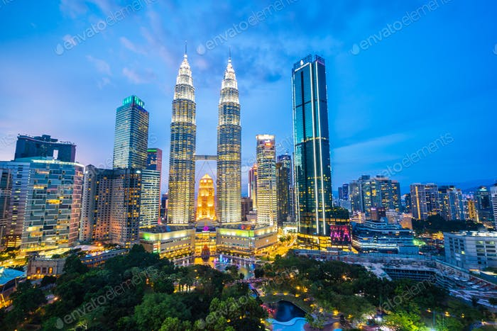 Beautiful architecture building exterior city in kuala lumpur sk