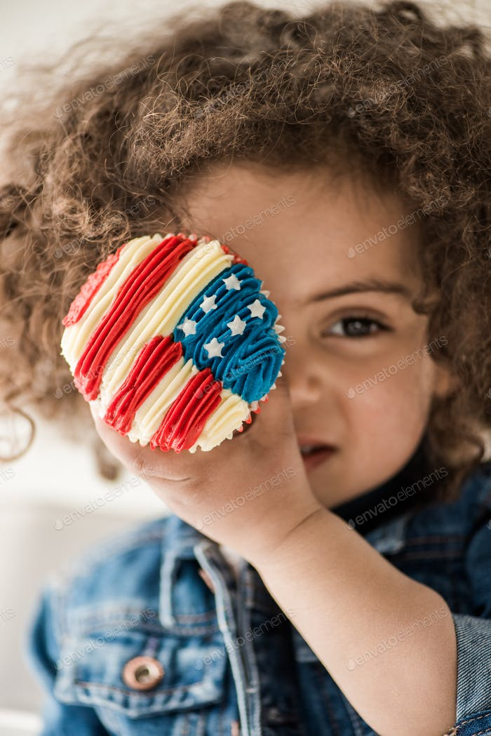 Cute African American Baby Girl With American Flag Muffin