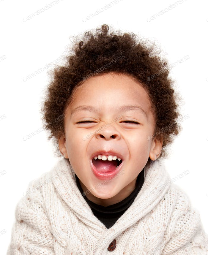 Laughing afro hairstyle child