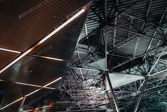 A metal roof, indoor wide-angle view