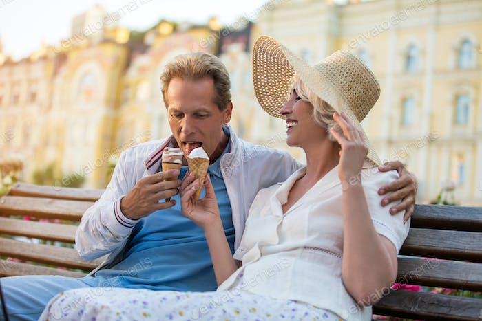 Mature couple with ice cream