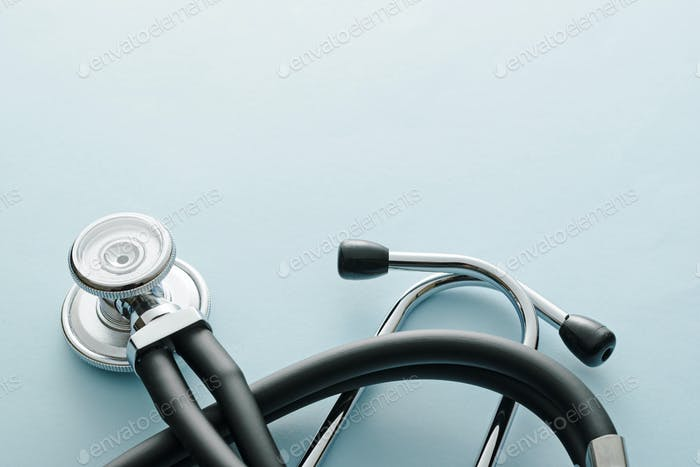 A coiled stethoscope with focus to the disc
