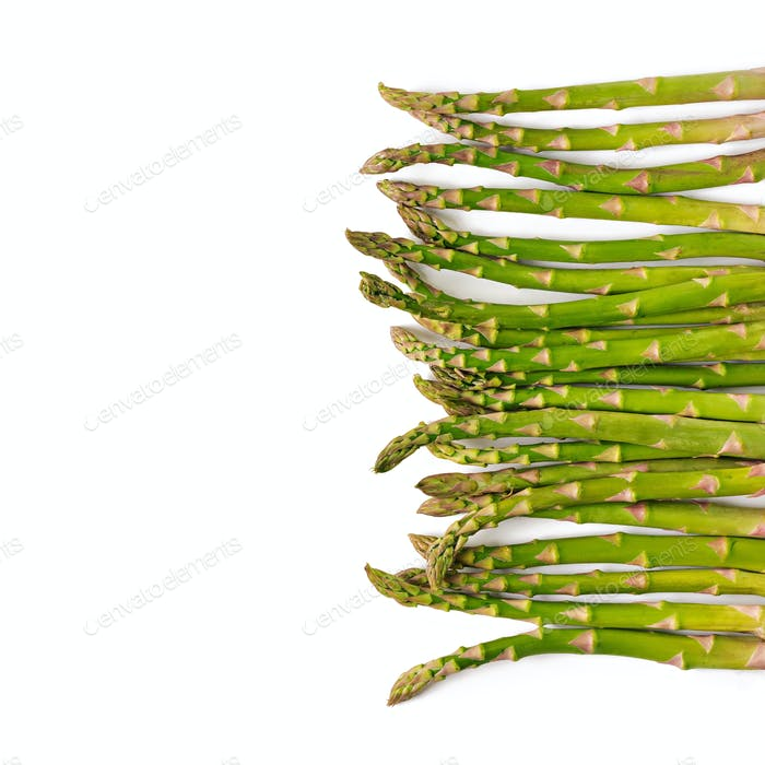 Background from isolated on white background asparagus. Top view