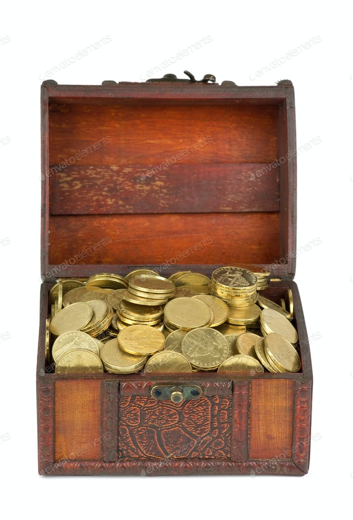 Treasure: wooden chest with golden coins
