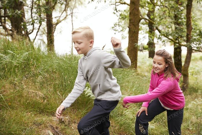 Two children walking together through a forest by tall grass, side view