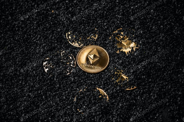 Gold etherium coin