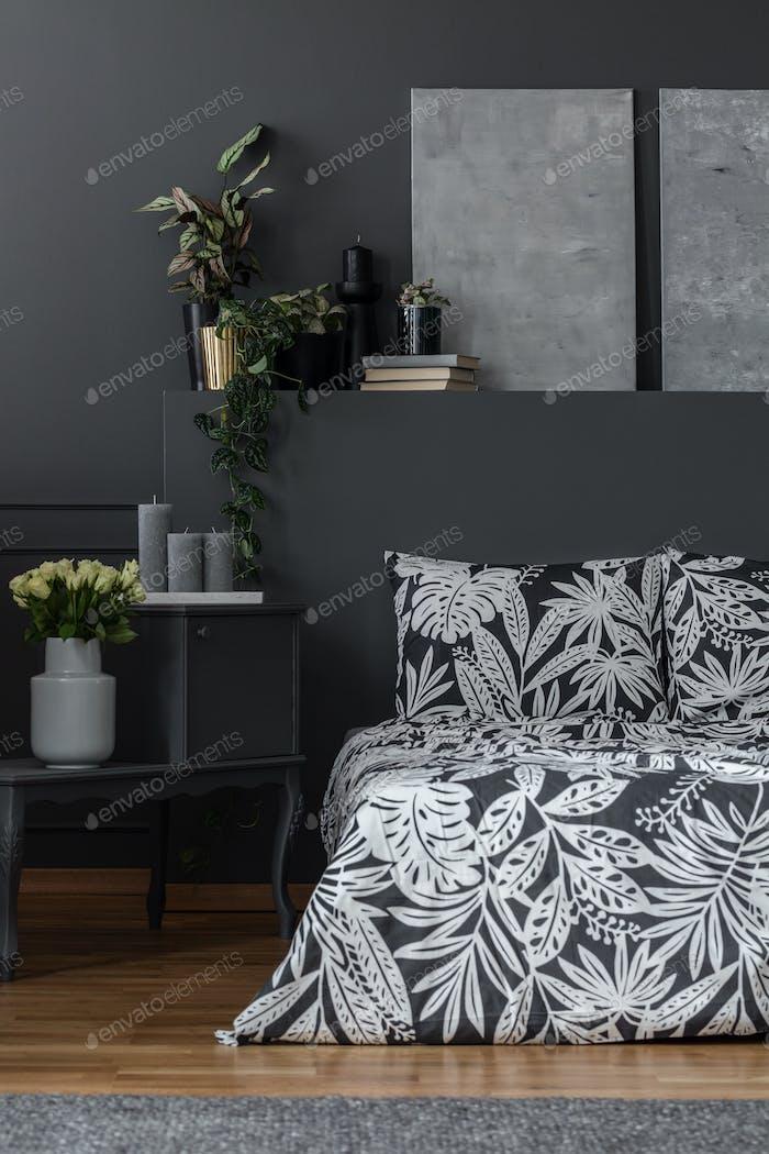 Grey patterned bedroom interior