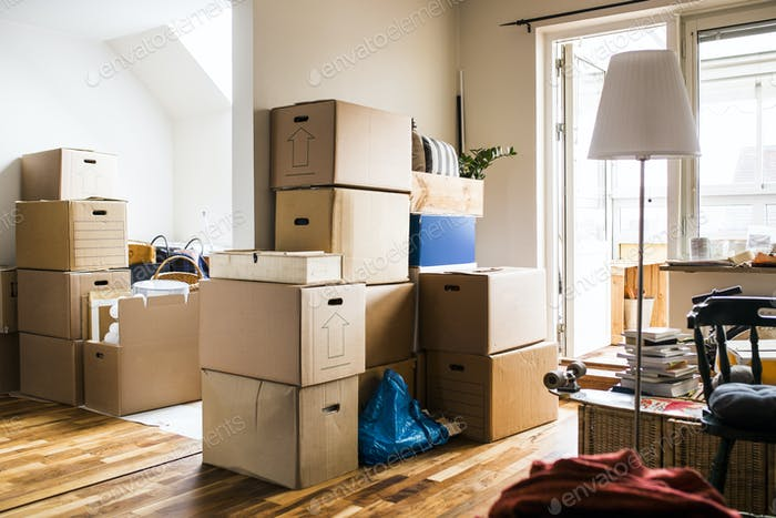 Moving boxes in domestic room