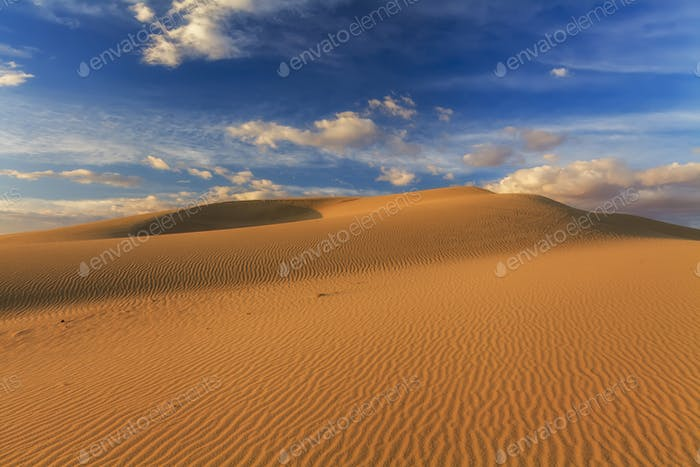 Desert landscape on the background of clouds. The Gobi Desert. Mongolia.