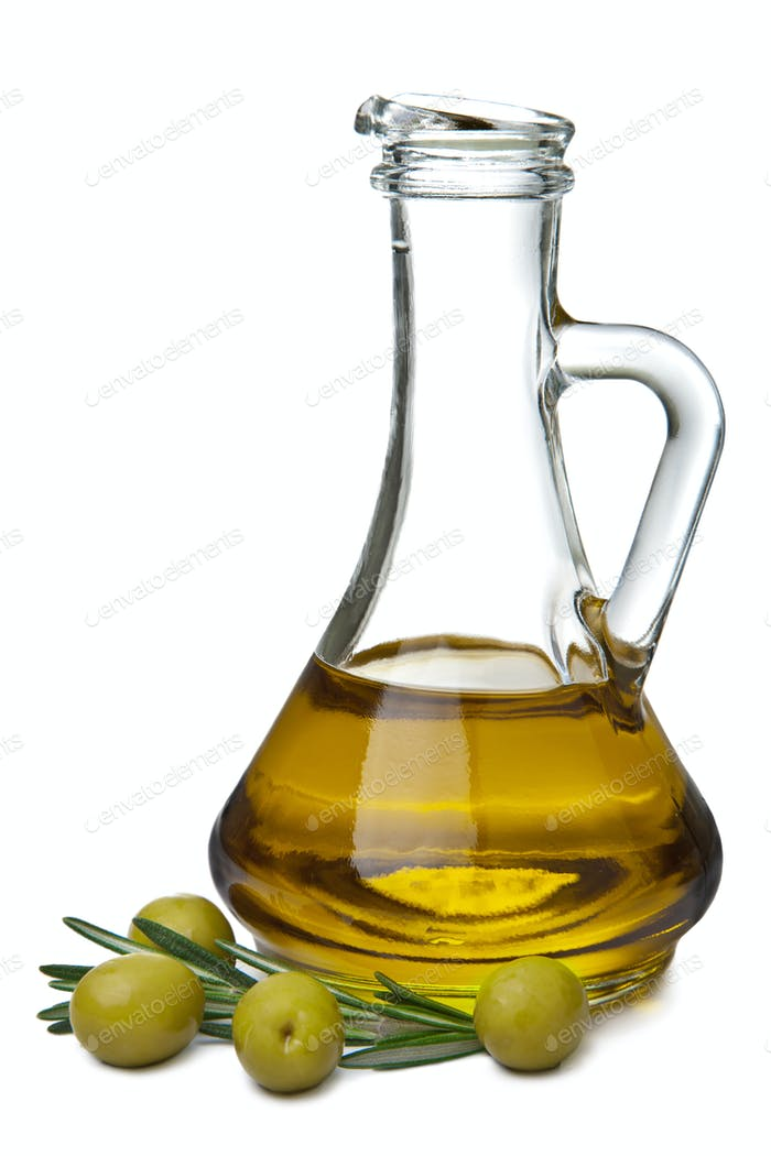 olive oil in bottle and olives isolated