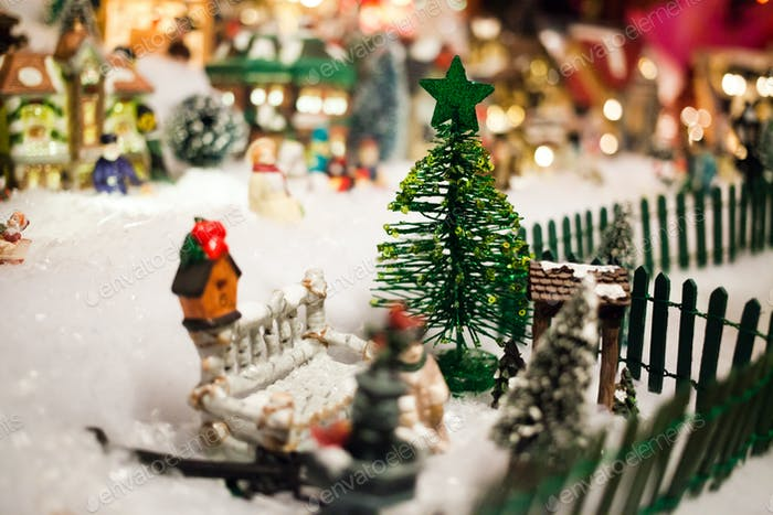 miniature christmas village under xmas tree - Miniature Christmas Town Decorations