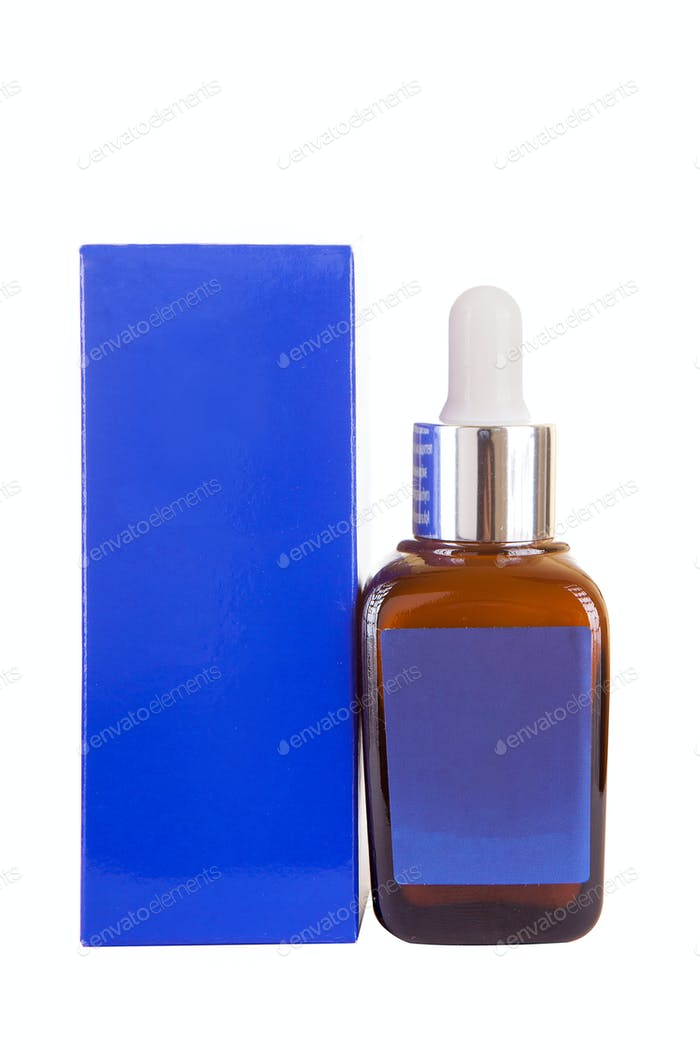 Cosmetic products in bottle next to a box