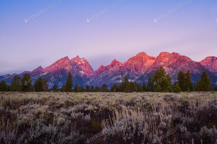 Landscape sunrise view at Grand Teton mountains, USA