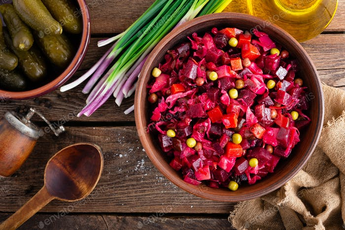Beet Salad. Salad of beetroot. Vinaigrette. Vegan food. Traditional ukrainian cuisine. Top view.
