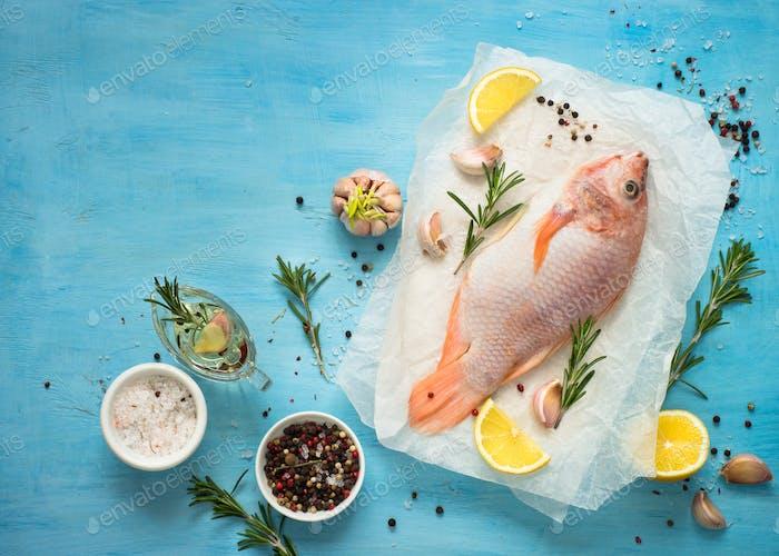 Fresh raw fish tilapia.