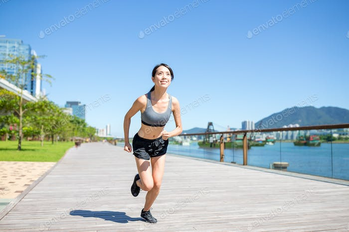 Female running in city