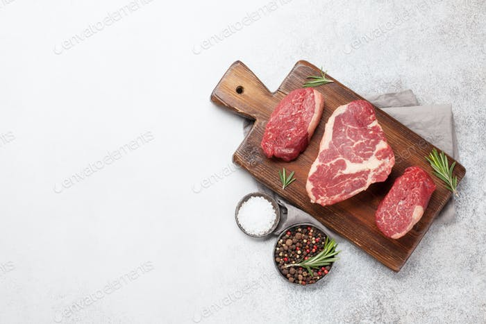 Variety of fresh raw beef steaks